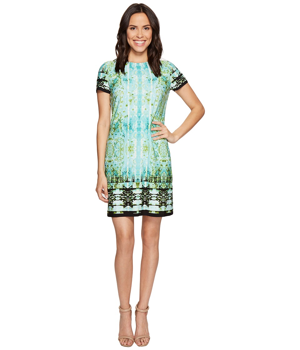 London Times Carper Medallion Short Sleeve Shift Dress (Aqua) Women