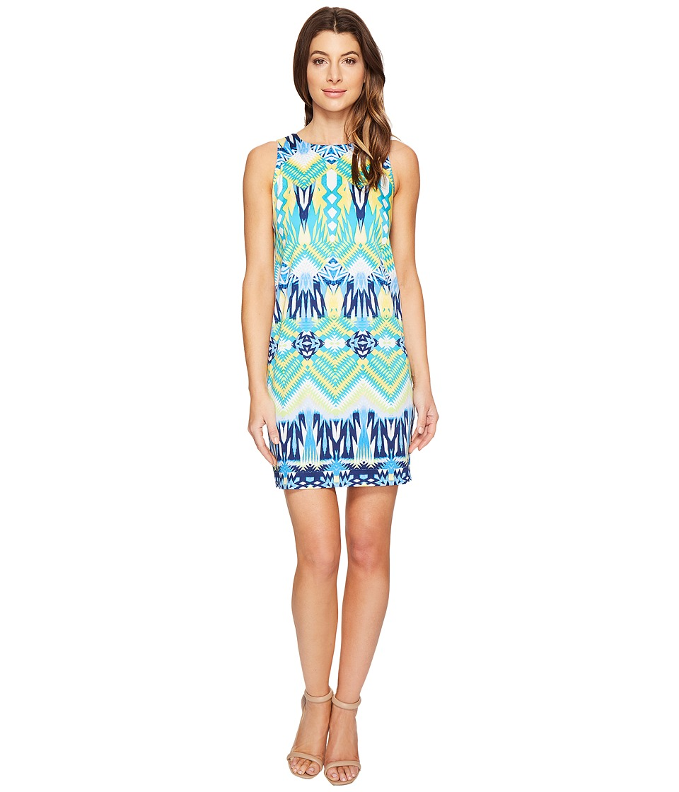 London Times Aztec Medley Sleeveless Shift Dress (Blue Multi) Women