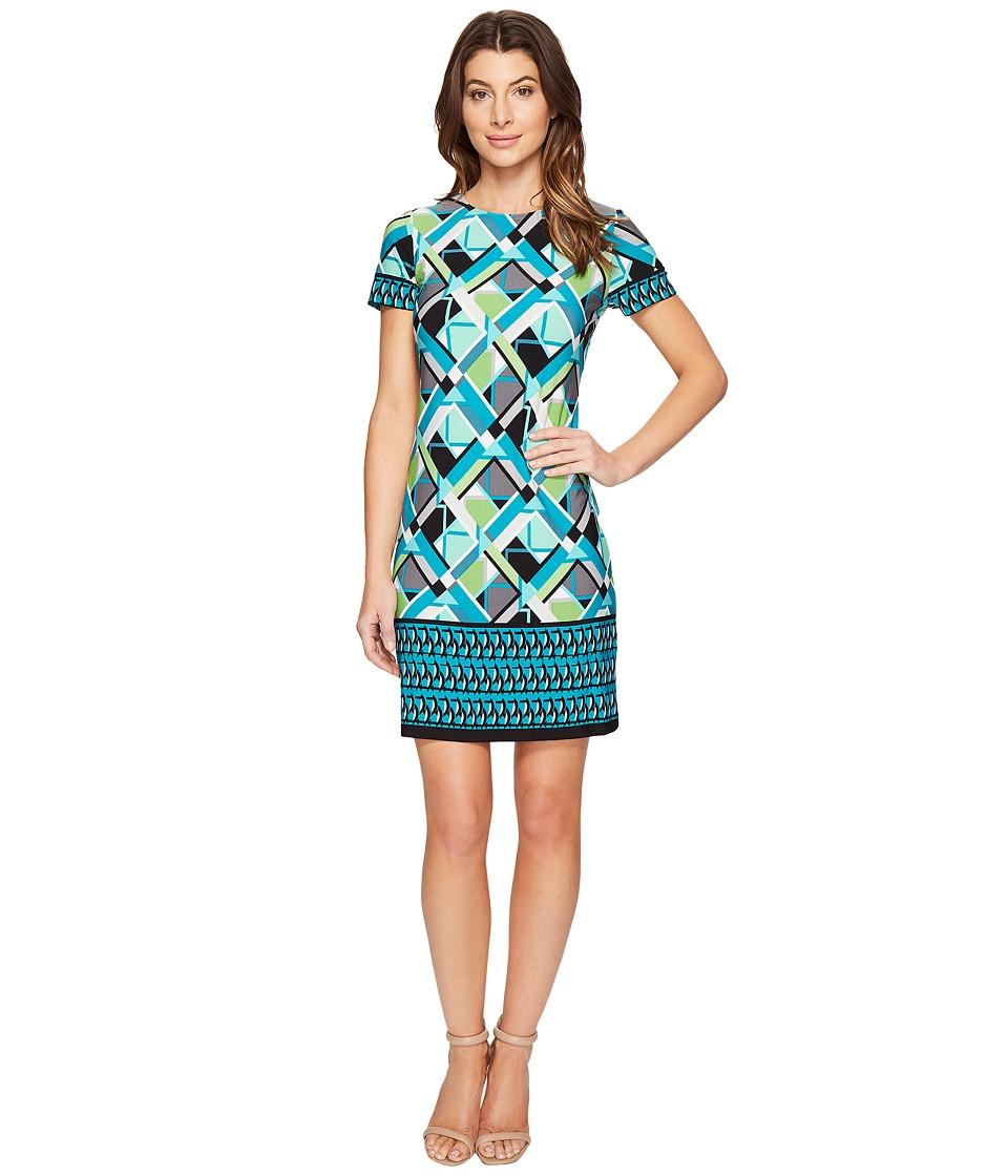 London Times - Geo Puzzle Border Short Sleeve Shift Dress (Aqua) Women's Dress