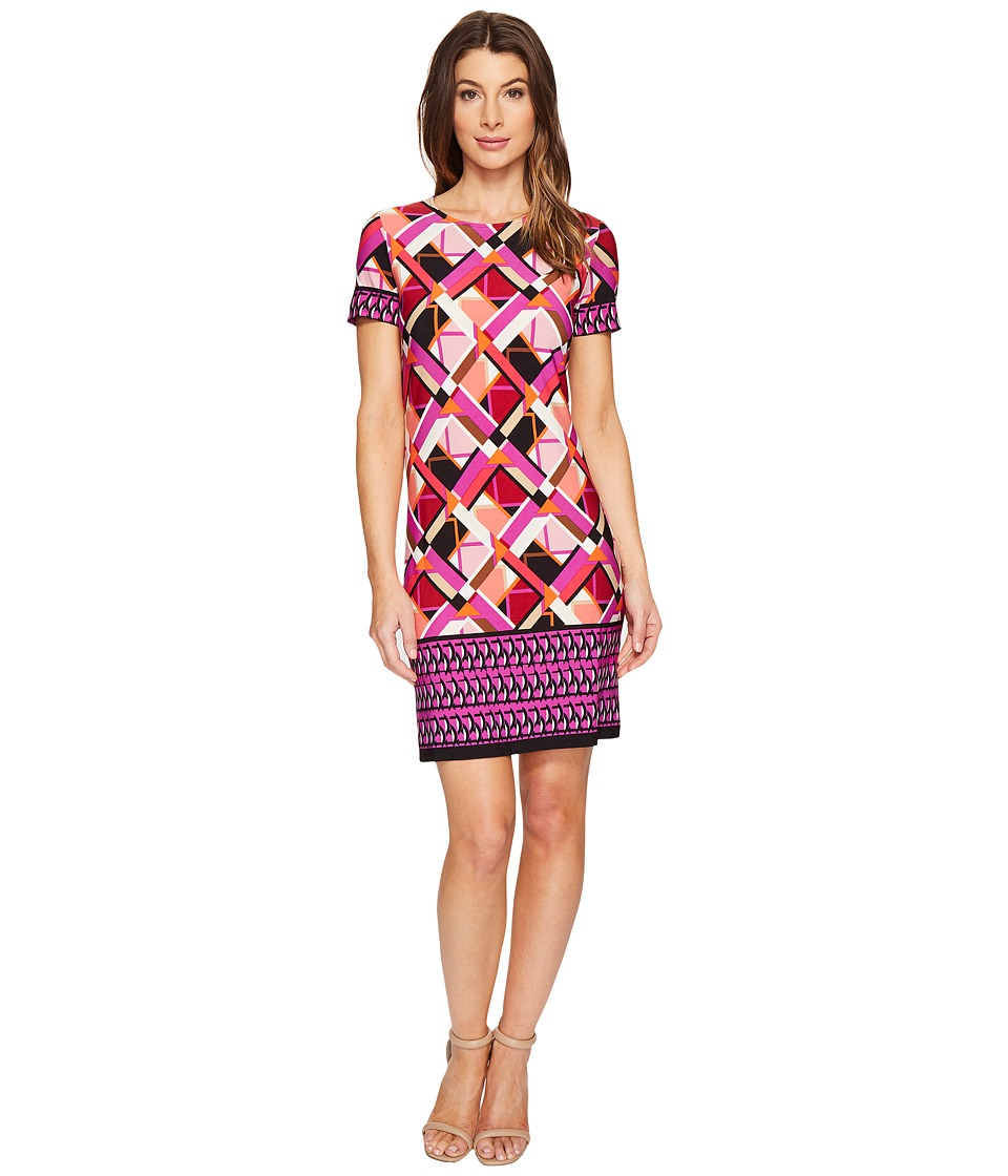 London Times - Geo Puzzle Border Short Sleeve Shift Dress (Pink) Women's Dress