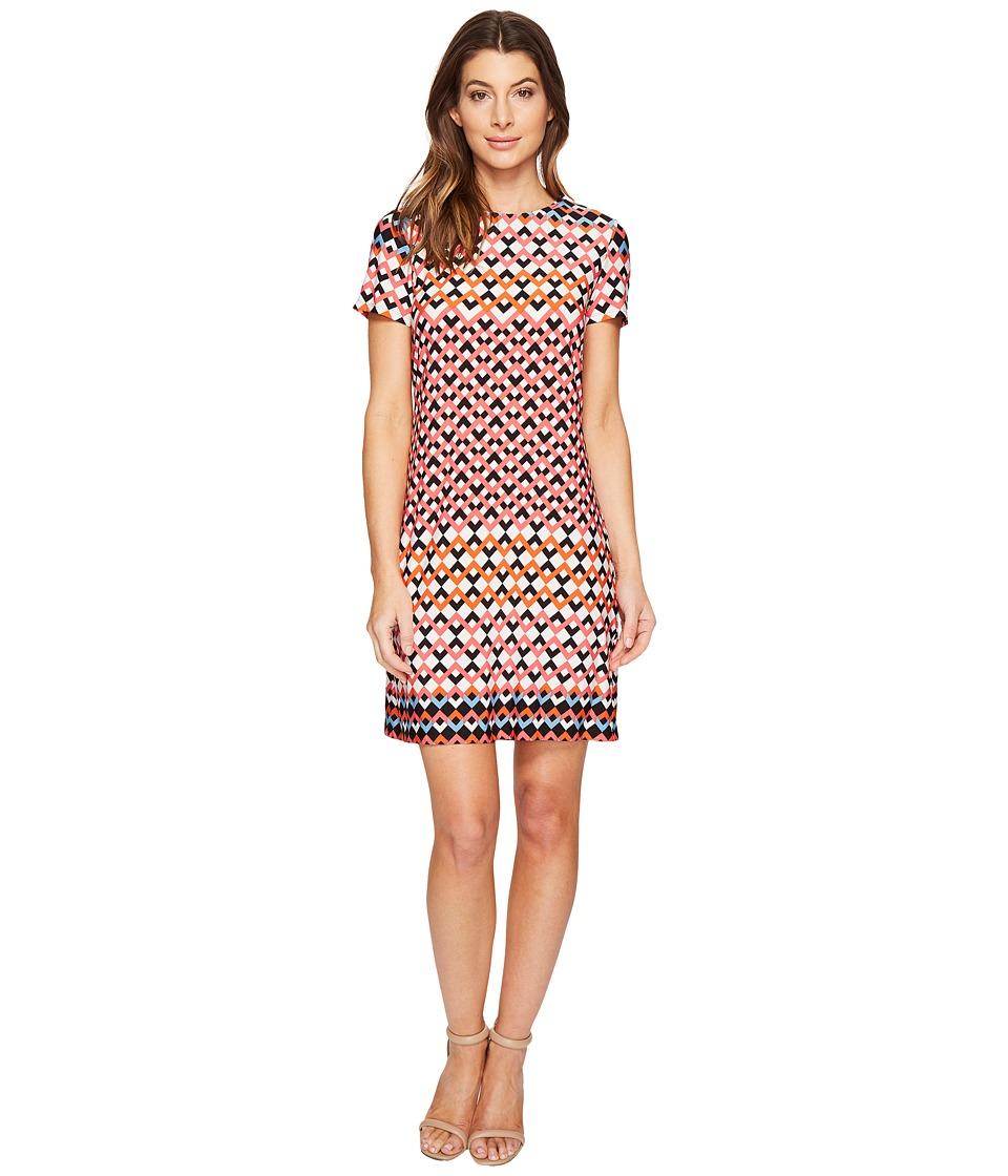London Times - Chevron Geo Short Sleeve Shift Dress (Coral) Women's Dress