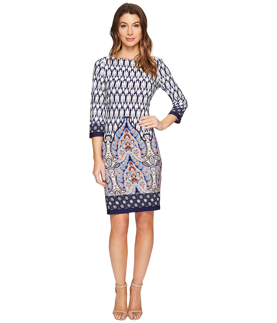 London Times Matte Jersey Shift Dress (Navy Multi) Women