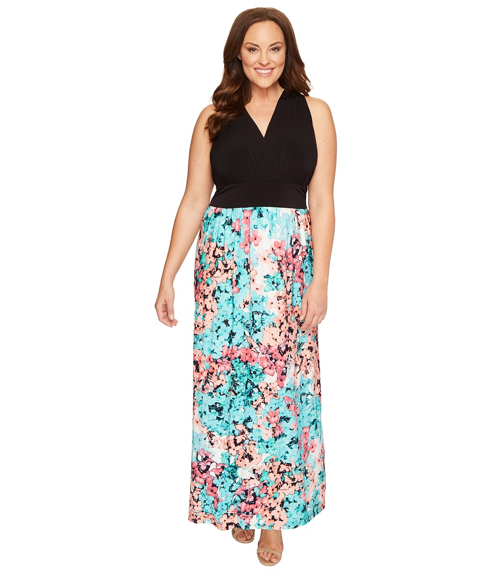 London Times - Plus Size Hydrangia Mix Halter Maxi Dress (Black/Turquoise) Women's Dress
