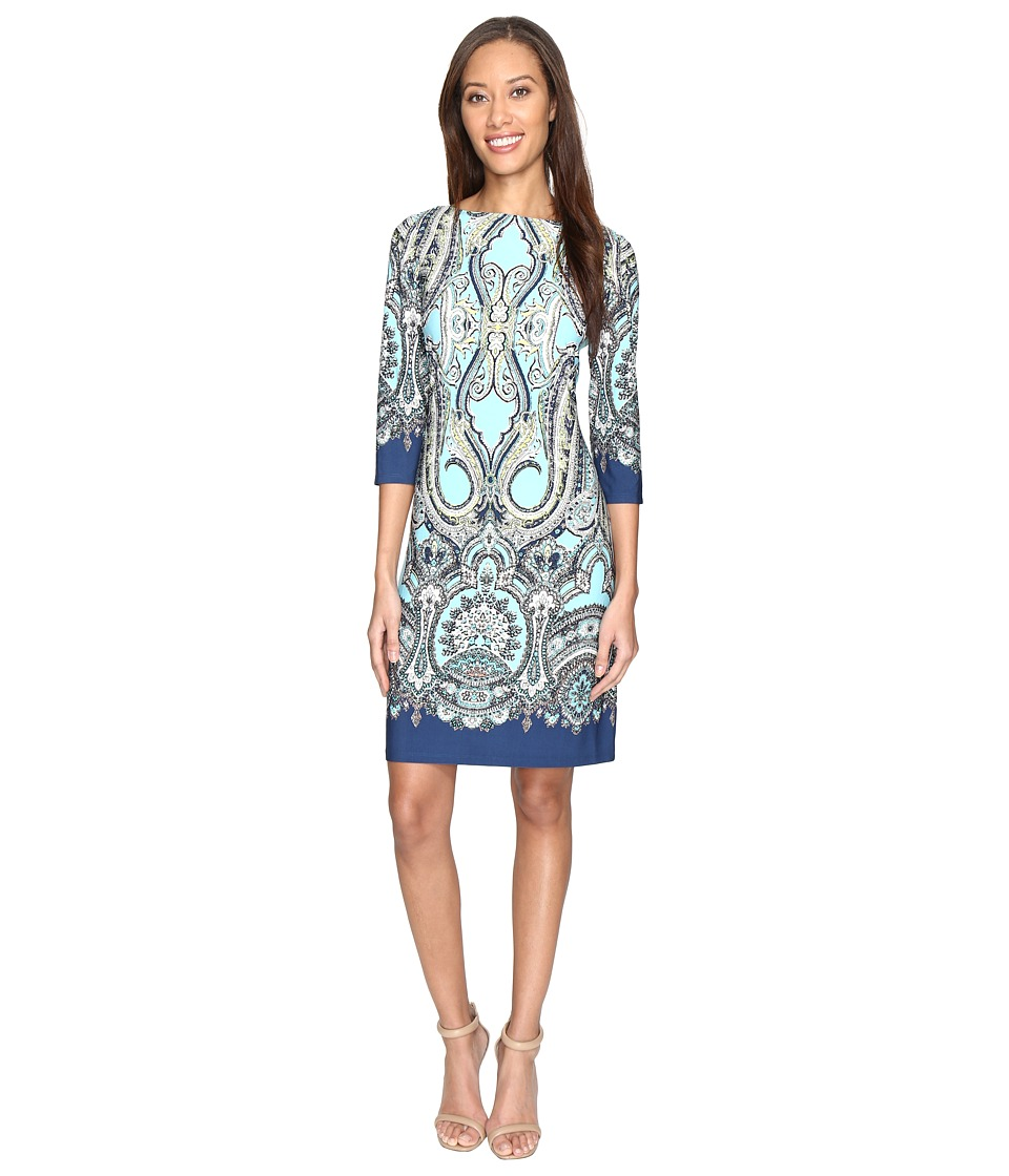 London Times Regal Scroll Paisley 3/4 Shift Dress (Aqua Multi) Women