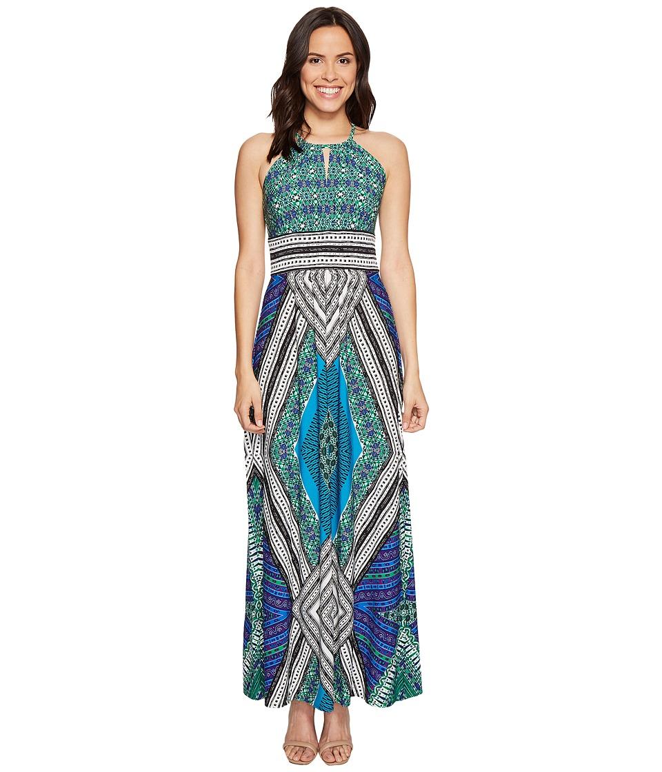 London Times Sleeveless Keyhole Halter Maxi Dress (Green/Blue) Women