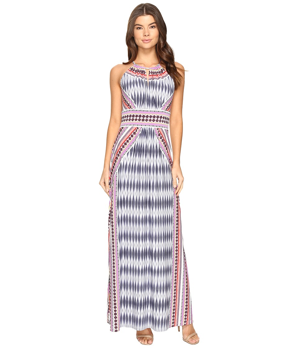 London Times Ikat Diamond Halter Maxi Dress (Coral Multi) Women
