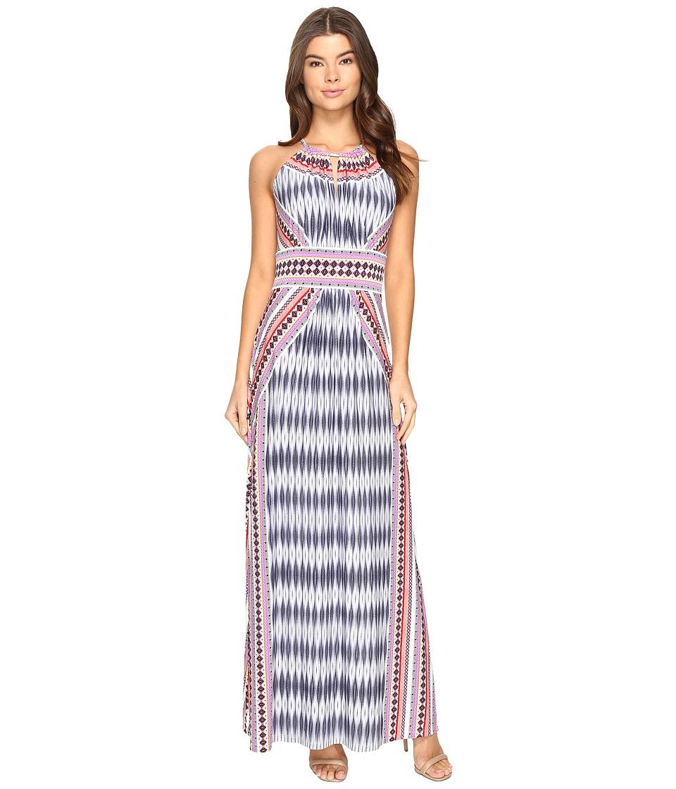 London Times - Ikat Diamond Halter Maxi Dress (Coral Multi) Women's Dress