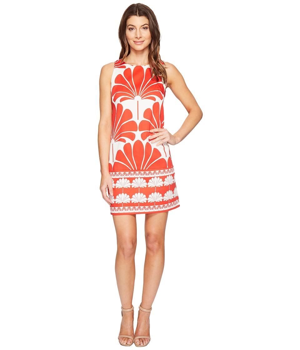 London Times - Geko Border Sleeveless Shift Dress (Coral) Women's Dress