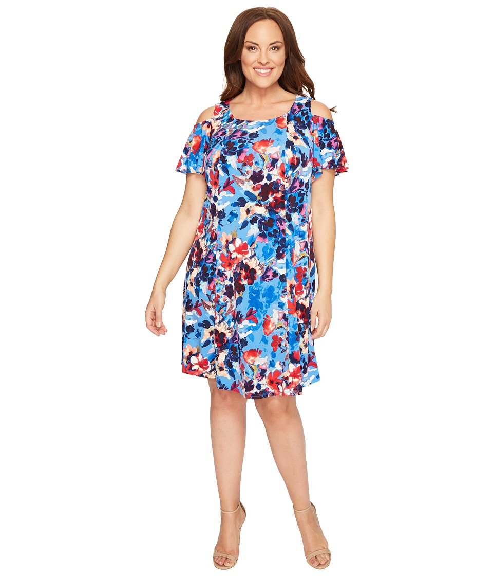 London Times - Plus Size Shadow Bouquet Cold Shoulder Trap Dress (Blue) Women's Dress