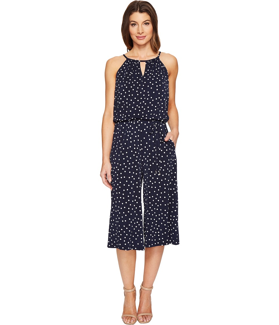 London Times - Happy Dot Cropped Jumpsuit (Navy/White) Women's Jumpsuit & Rompers One Piece