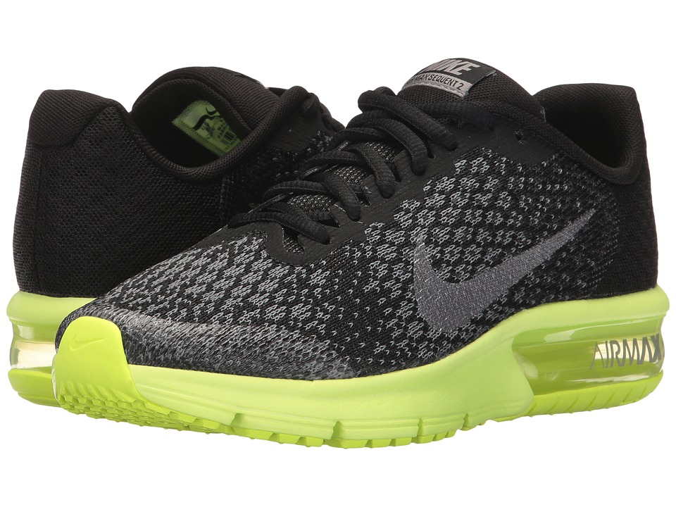 Nike Kids Air Max Sequent 2 (Big Kid) (Black/Metallic Cool Grey/Anthracite) Boys Shoes