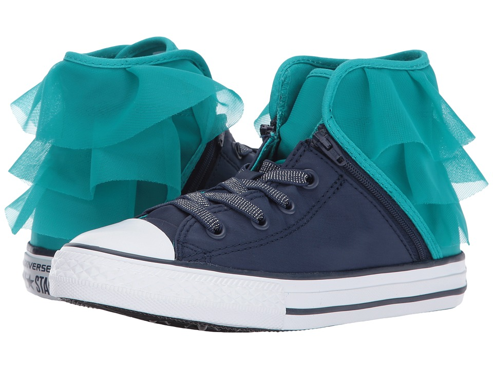 Converse Kids - Chuck Taylor All Star Block Party Hi (Little Kid/Big Kid) (Midnight Navy/Turbo Green) Girl's Shoes