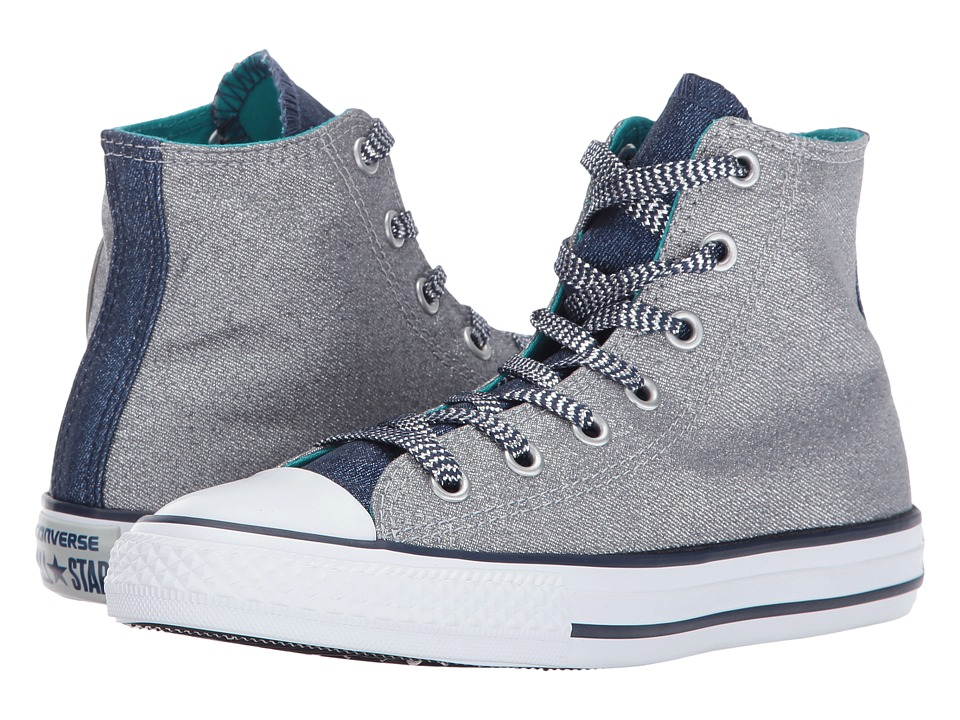 Converse Kids - Chuck Taylor All Star Shine Hi (Little Kid/Big Kid) (Wolf Grey/Midnight Navy/White) Girl's Shoes