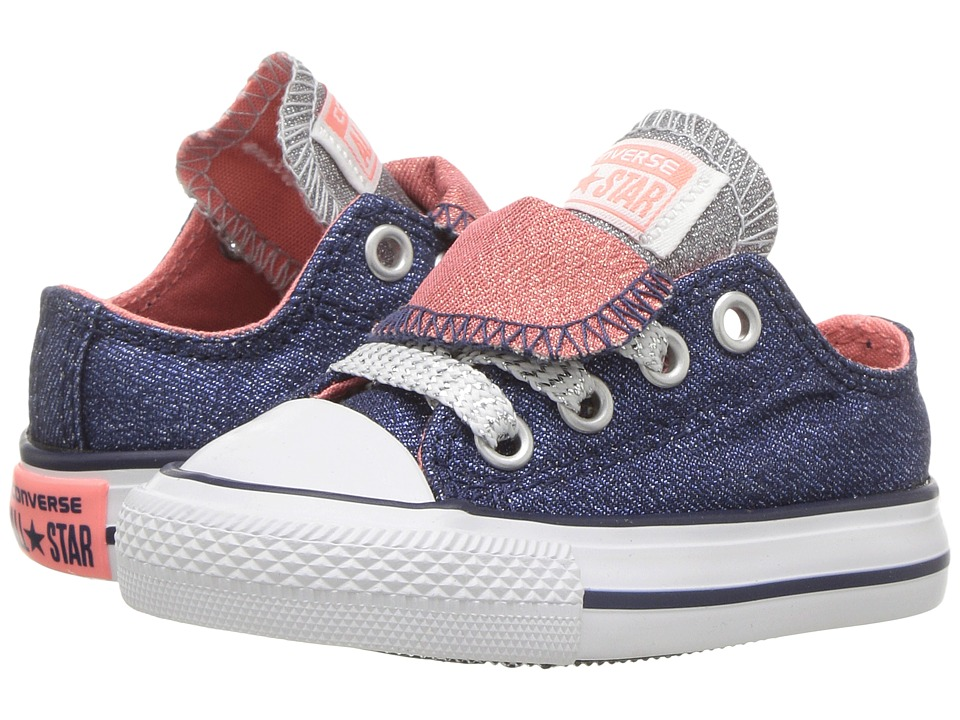 Converse Kids - Chuck Taylor All Star Double Tongue Ox (Infant/Toddler) (Midnighat Navy/Sunblush/White) Girl's Shoes