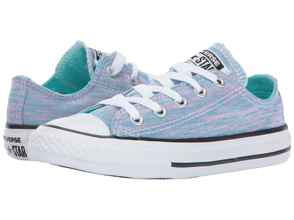 Converse Kids - Chuck Taylor All Star Jersey Knit Ox (Little Kid) (Light Aqua/Pink Pow/White) Girl's Shoes
