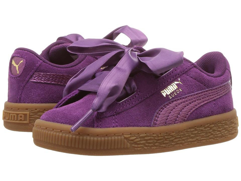 Puma Kids Suede Heart SNK (Toddler) (Dark Purple/Dark Purple) Girls Shoes