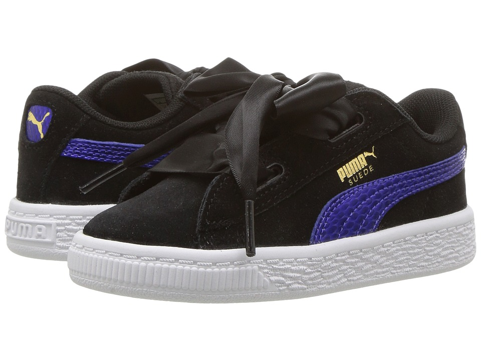 Puma Kids Suede Heart SNK (Toddler) (Puma Black/Baja Blue) Girls Shoes