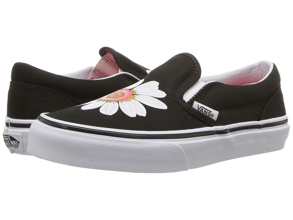 Vans Kids Classic Slip-On (Little Kid/Big Kid) ((Flower Petals) Black/Paradise Pink) Girls Shoes