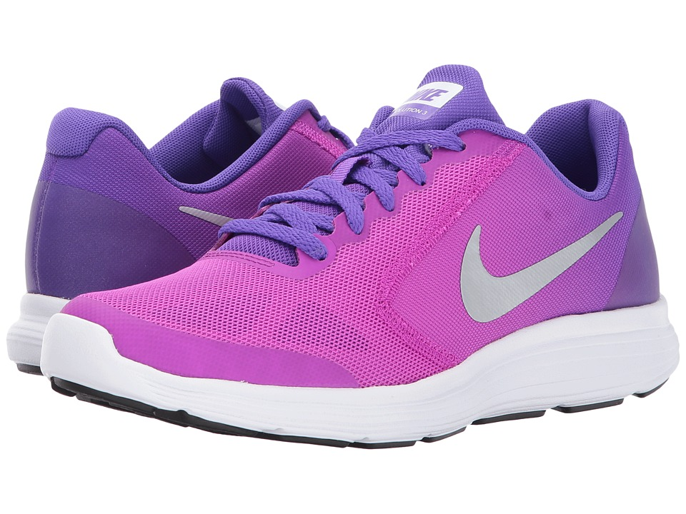 Nike Kids Revolution 3 (Big Kid) (Hyper Violet/Metallic Silver/Hyper Grape) Girls Shoes