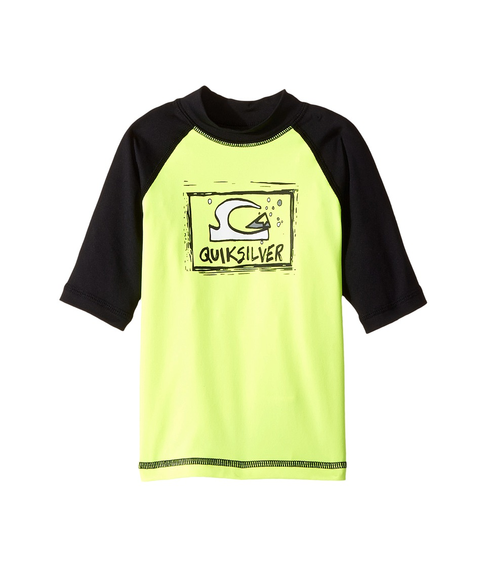 Quiksilver Kids - Bubble Dream Short Sleeve Rashguard (Toddler/Little Kids) (Safety Yellow/Black) Boy's Swimwear
