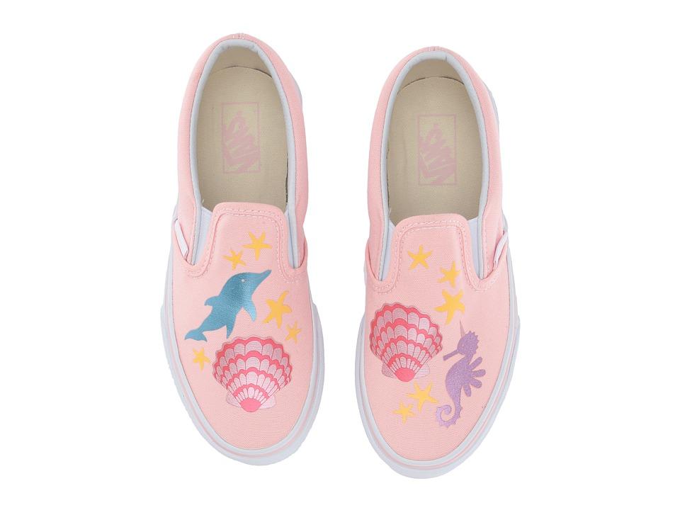 Vans Kids Classic Slip-On (Little Kid/Big Kid) ((Mermaid) Pink/Metallic) Girls Shoes