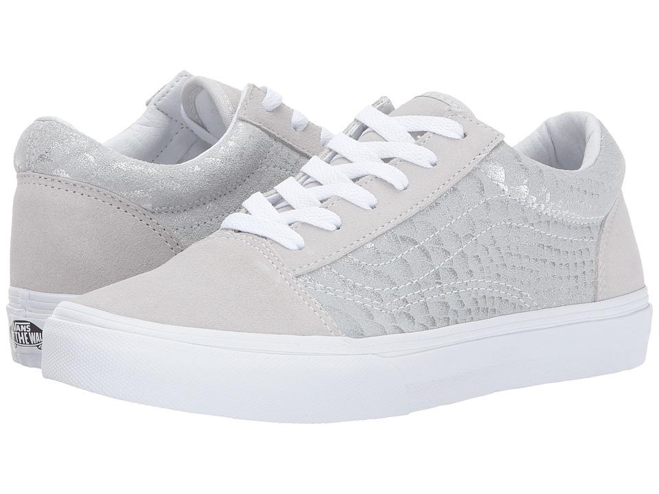 Vans Kids Old Skool (Little Kid/Big Kid) ((Metallic Snake) Silver/True White) Girls Shoes