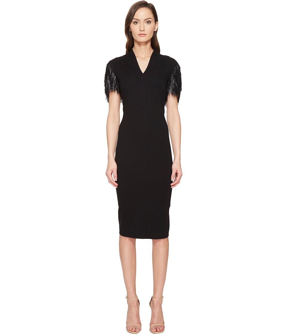 ESCADA Delecto Feathered Short Sleeve Dress