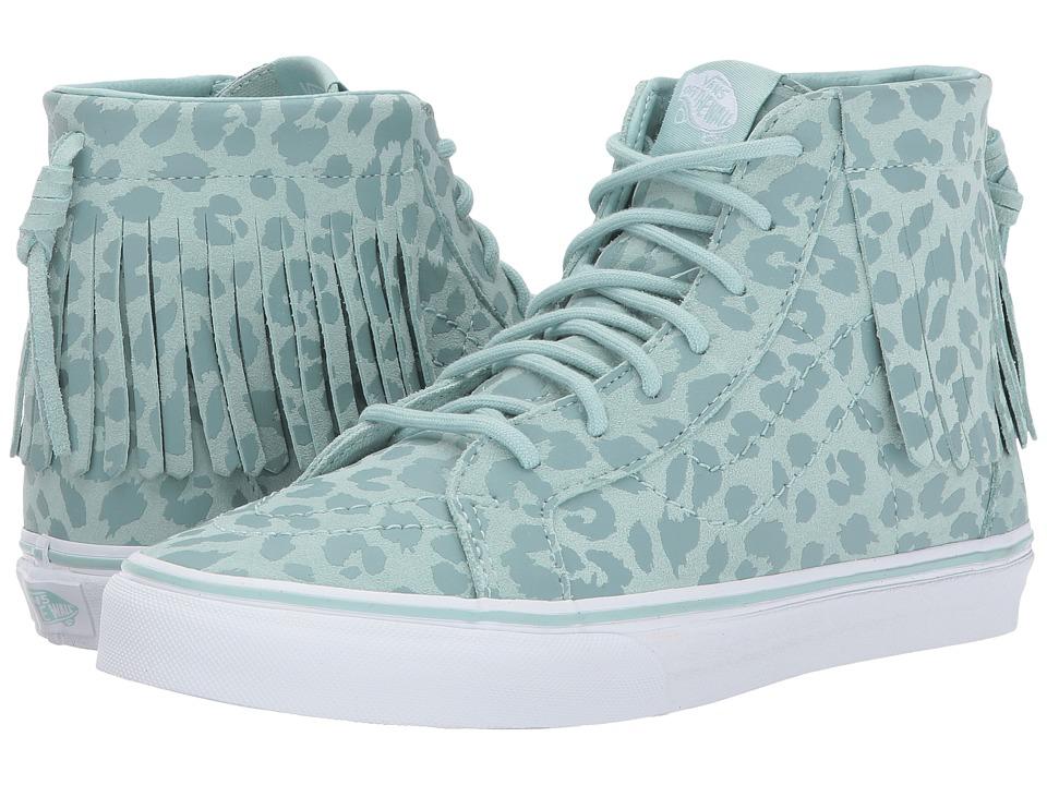 Vans Kids Sk8-Hi Moc (Little Kid/Big Kid) ((Leopard Suede) Harbor Gray) Girls Shoes
