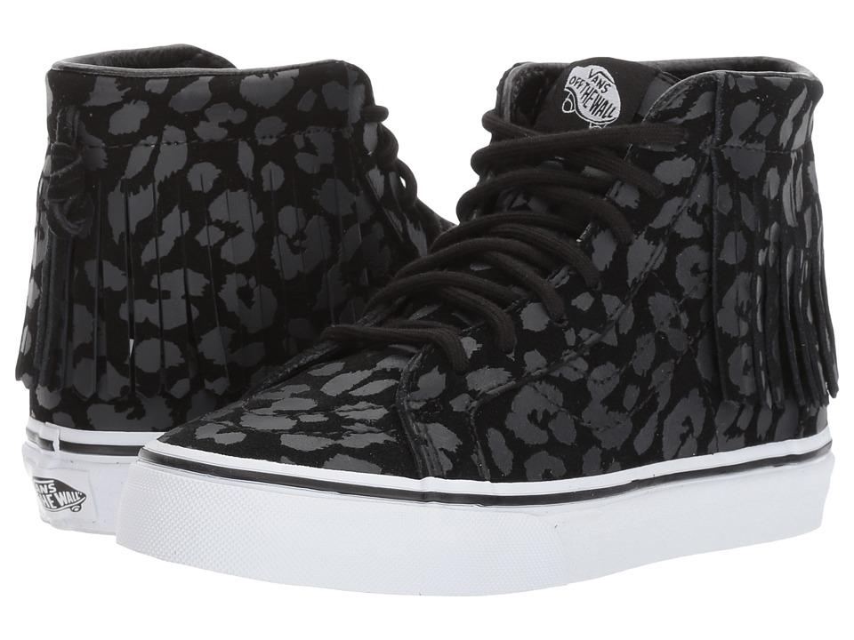 Vans Kids Sk8-Hi Moc (Little Kid/Big Kid) ((Leopard Suede) Black) Girls Shoes