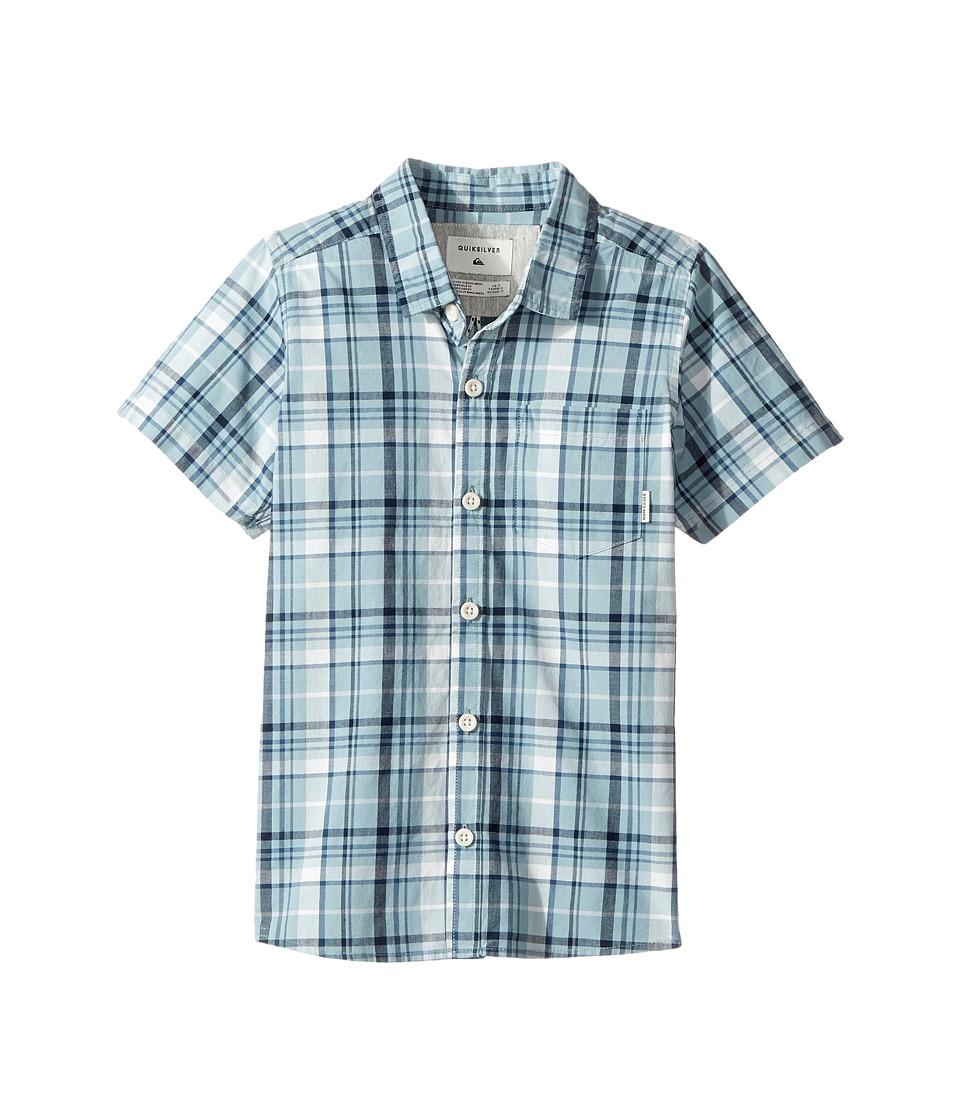 Quiksilver Kids - Everyday Check Short Button Up Sleeve Shirt (Toddler/Little Kids) (Stone Blue) Boy's T Shirt