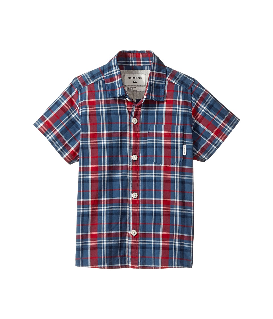 Quiksilver Kids - Everyday Check Short Button Up Sleeve Shirt (Toddler/Little Kids) (Dark Denim) Boy's T Shirt
