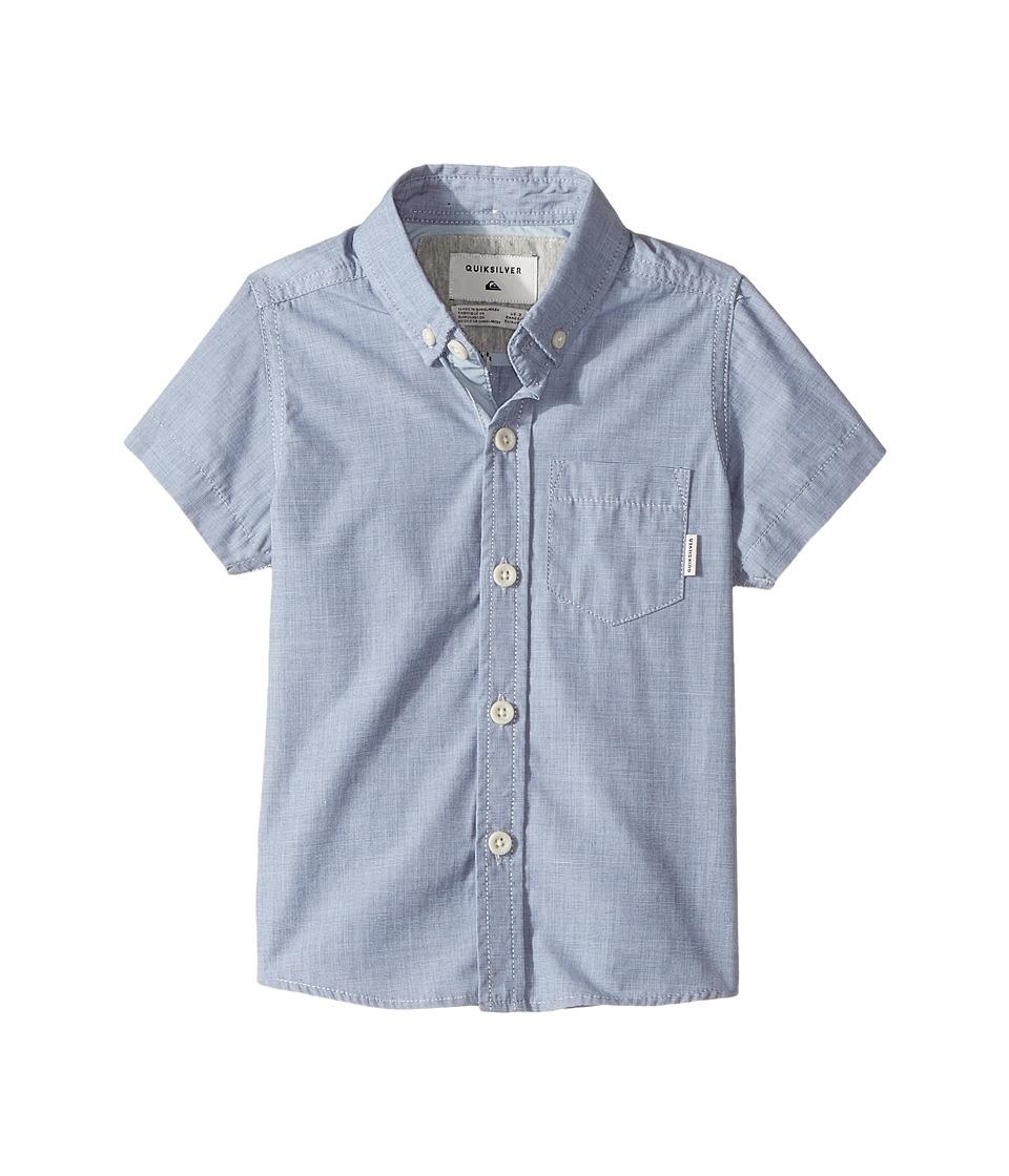 Quiksilver Kids - Everyday Wilsden Short Sleeve Button Up Shirt (Toddler/Little Kids) (Dark Denim) Boy's T Shirt