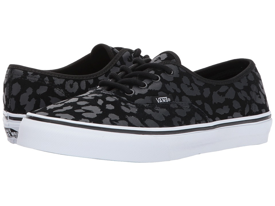 Vans Kids Authentic (Little Kid/Big Kid) ((Leopard Suede) Black) Girls Shoes