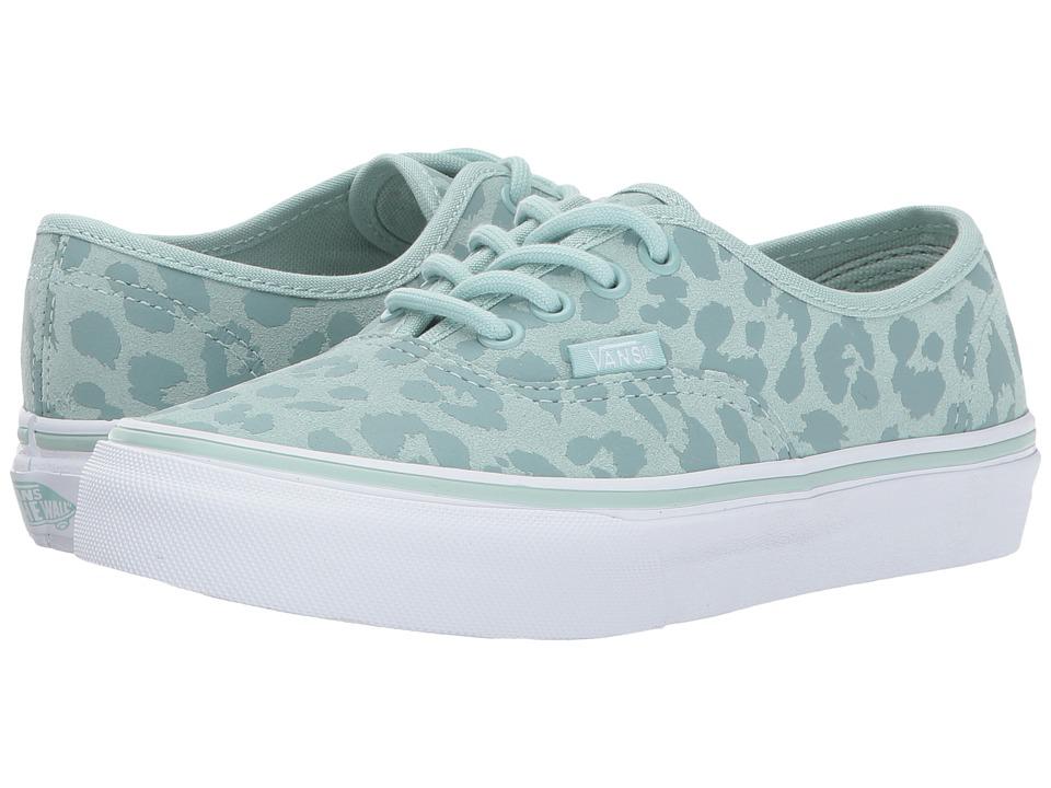 Vans Kids Authentic (Little Kid/Big Kid) ((Leopard Suede) Harbor Gray) Girls Shoes