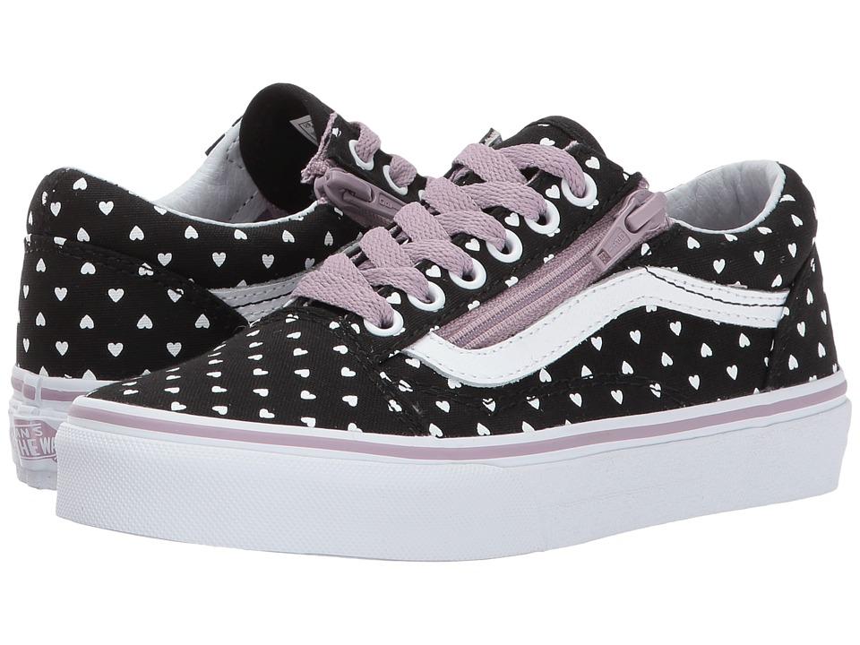 Vans Kids Old Skool (Little Kid/Big Kid) ((Micro Heart) Black/Sea Fog) Girls Shoes