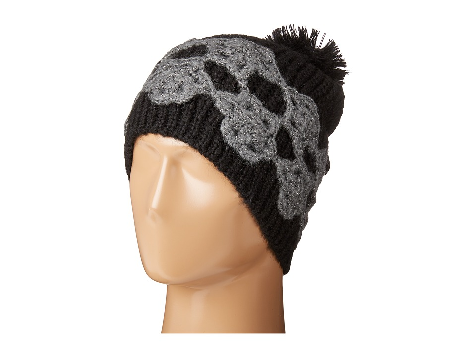 Betsey Johnson - Winter Bloom Beanie (Black/Charcoal) Beanies