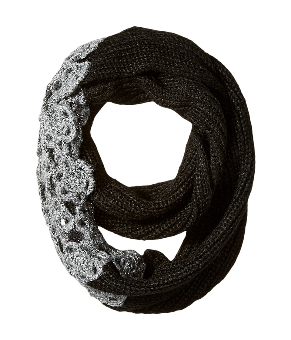 Betsey Johnson - Winter Bloom Infinity Scarf (Black/Charcoal) Scarves