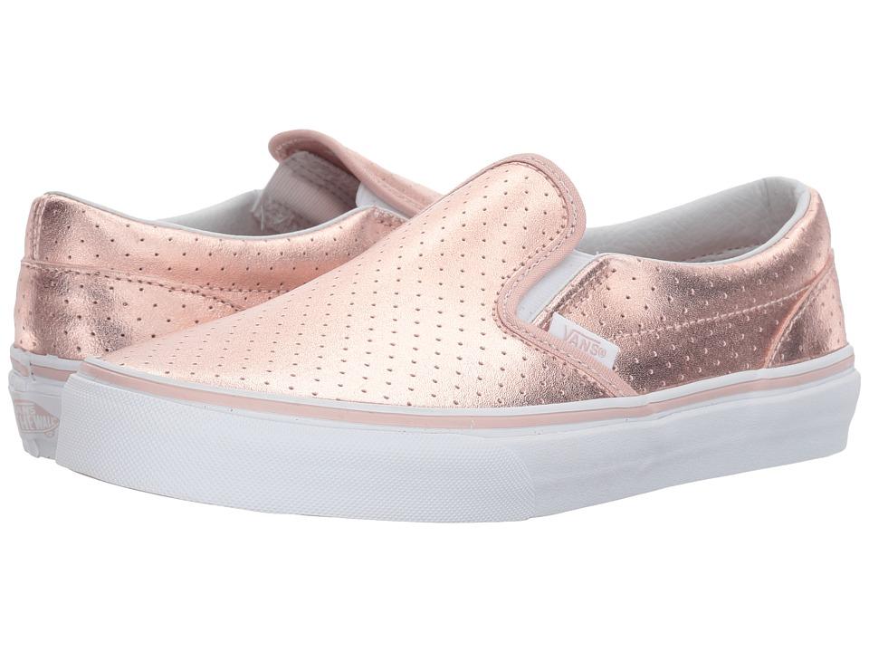 Vans Kids Classic Slip-On (Little Kid/Big Kid) ((Perf Leather) Rose Gold) Girls Shoes