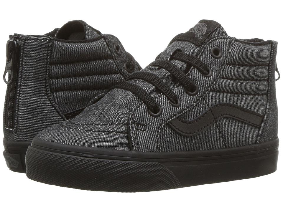 Vans Kids - Sk8-Hi Zip (Toddler) ((Mono Chambray) Black/Black) Boys Shoes