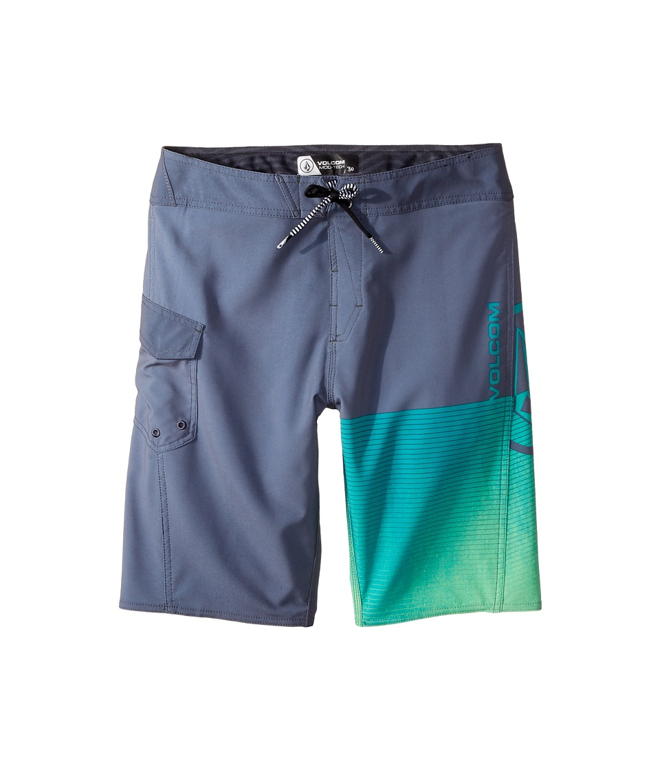 Volcom Kids - Costa Logo Mod Boardshorts (Big Kids) (Dusk Grey) Boy's Swimwear