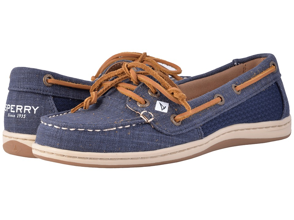 Sperry - Firefish Scratch Linen (Navy) Women's Slip on Shoes