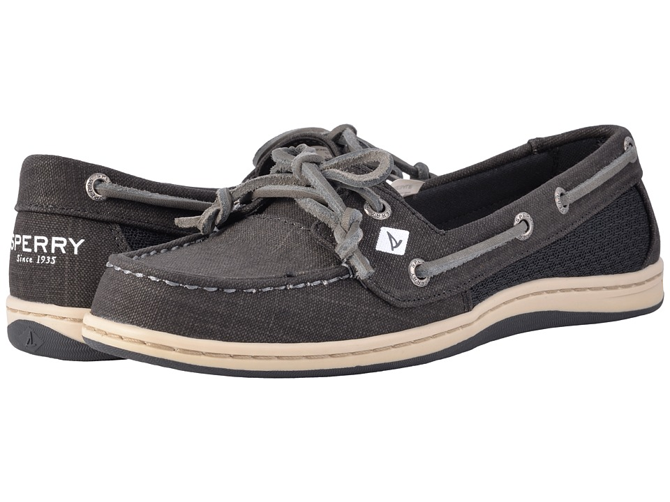 Sperry - Firefish Scratch Linen (Black) Women's Slip on Shoes