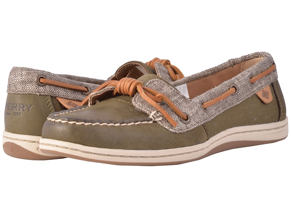 Sperry Barrelfish Heavy Linen (Dark Olive) Women