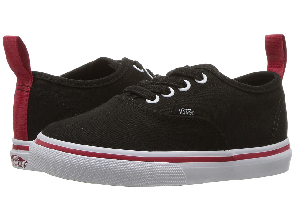 Vans Kids Authentic Elastic Lace (Toddler) ((Pop) Black/Racing Red) Boys Shoes