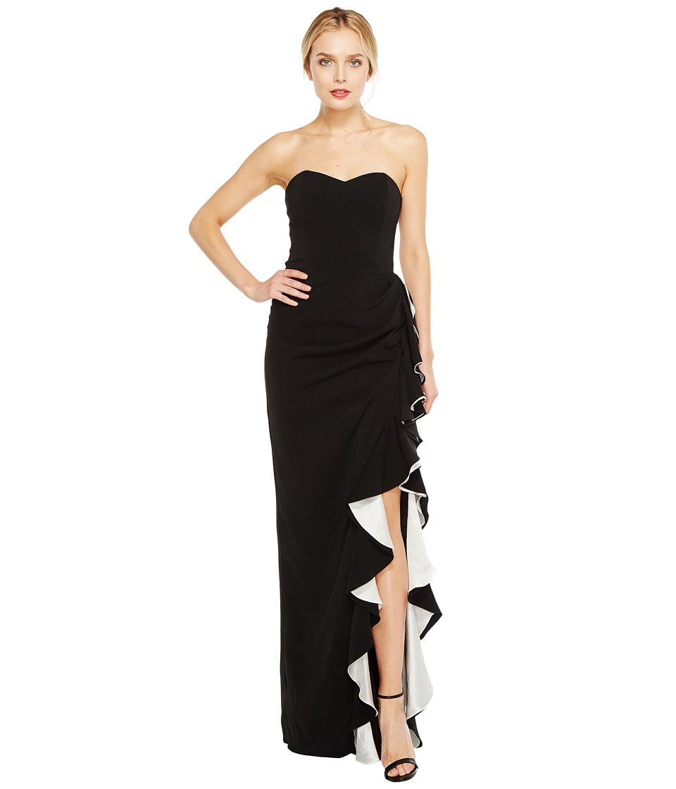 Badgley Mischka Color Block Ruffle Gown Black-White Dress