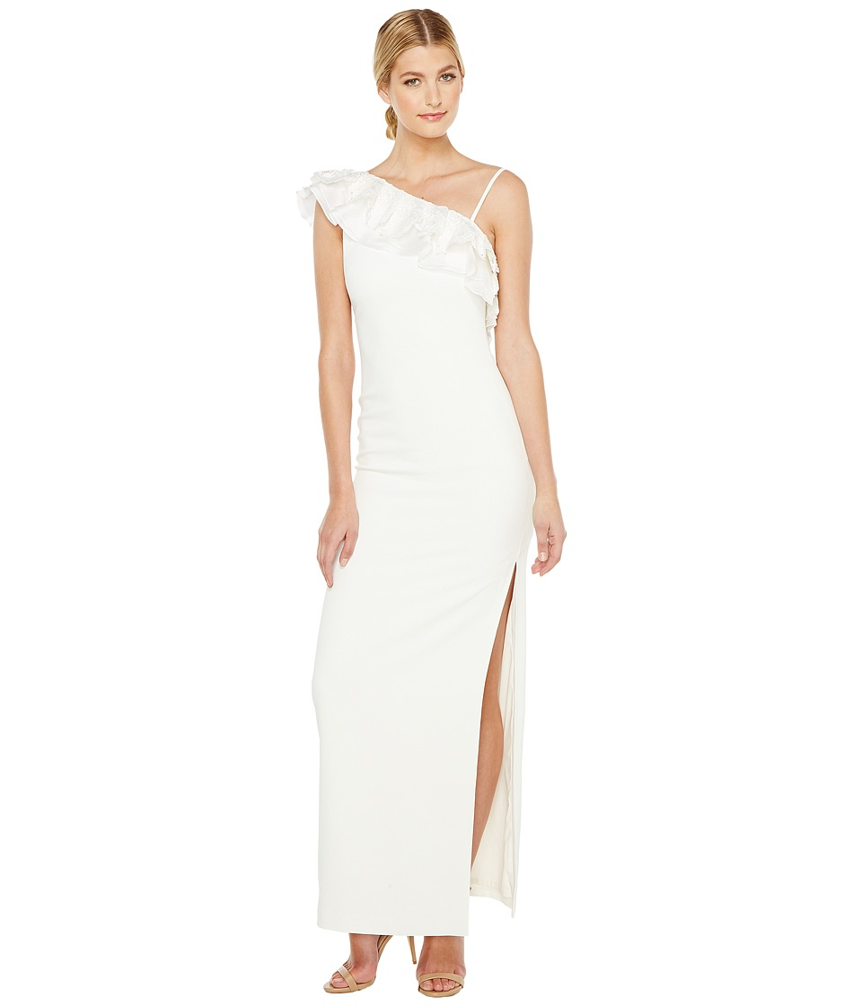 Badgley Mischka Asymmetrical Lace Trimmed Gown (Light Ivory) Women