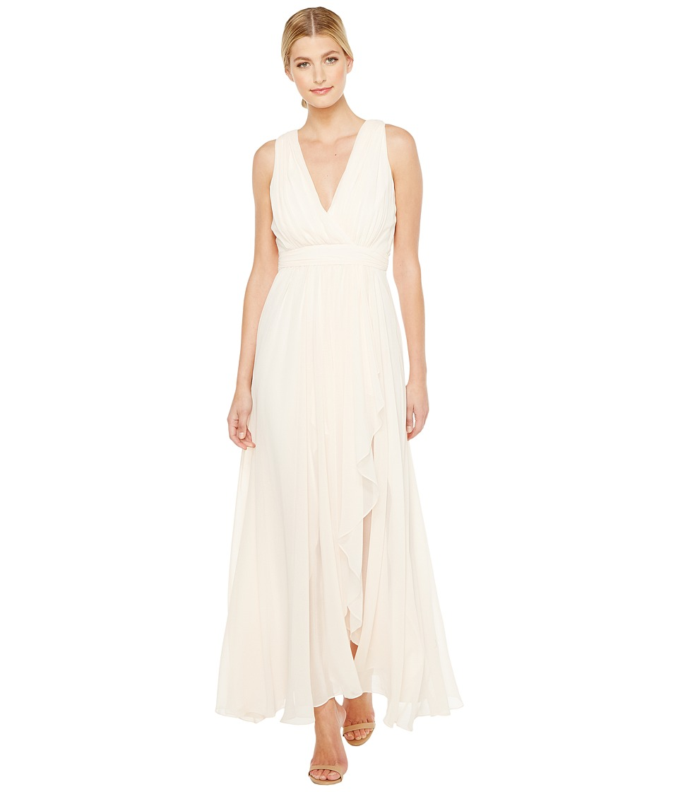 Badgley Mischka V-Neck Draped Gown with Slit Blush Dress