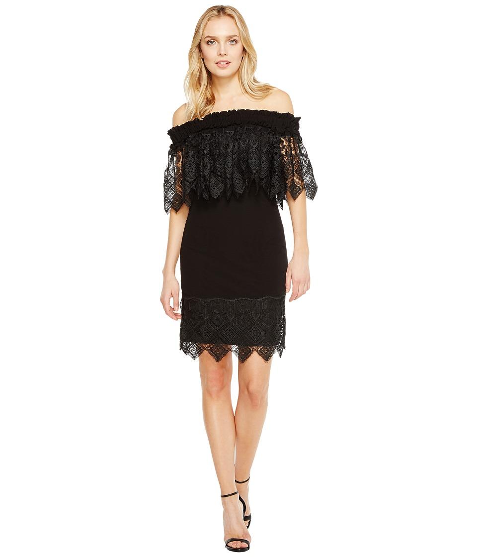 Badgley Mischka Off the Shoulder Silk Dress Trimmed in Lace (Black) Women