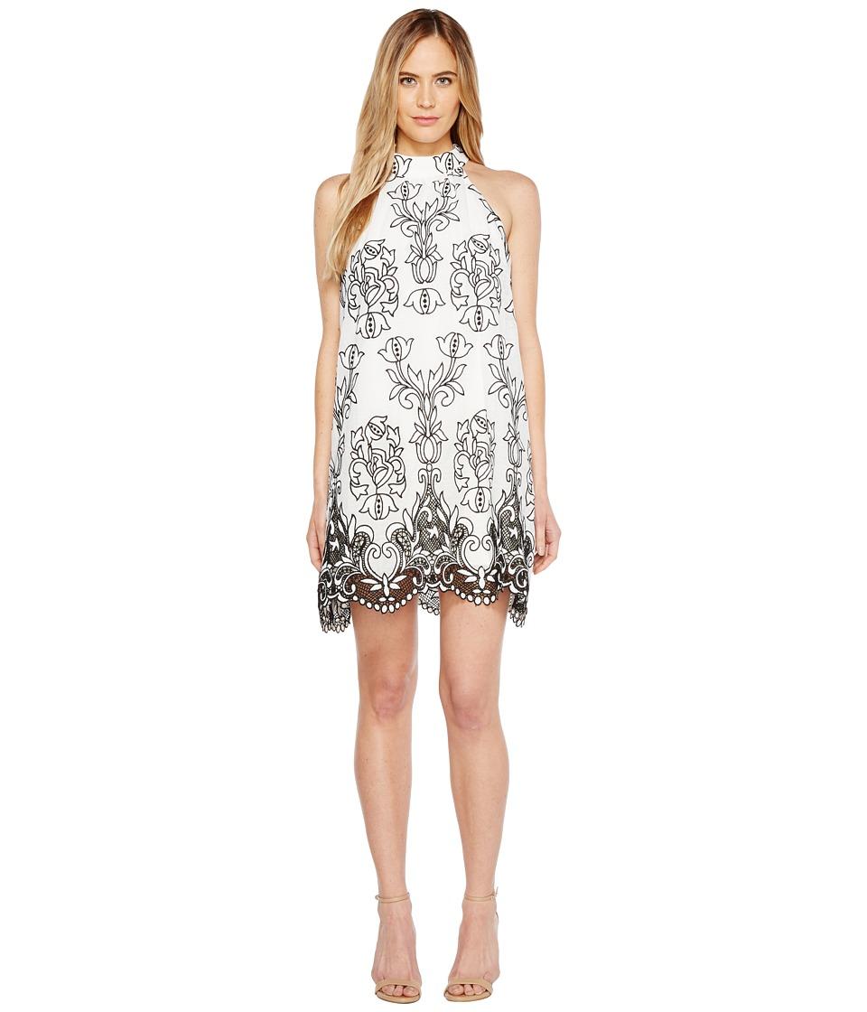 Badgley Mischka - Embroidered Linen Trapeze Dress (White/Black) Women's Dress