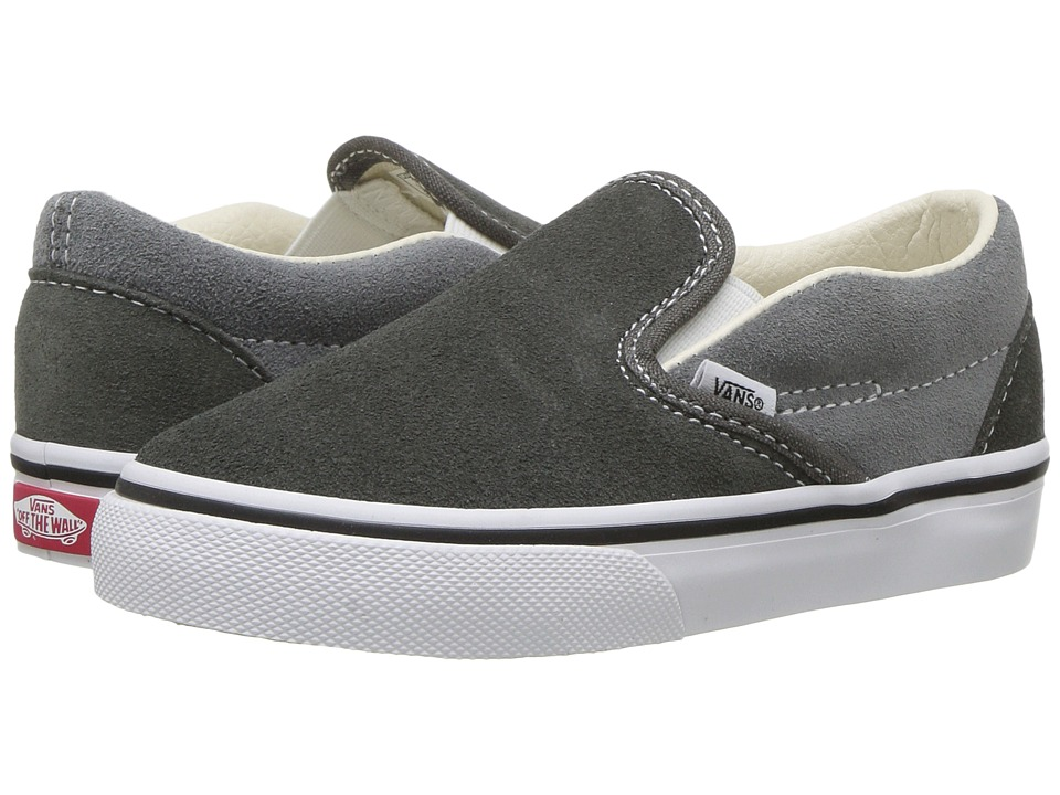 Vans Kids Classic Slip-On (Toddler) ((Suede) Gunmetal/Monument) Boys Shoes